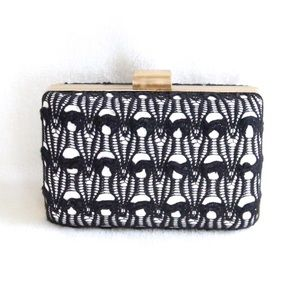 Sondra Roberts Black and White Lace Clutch